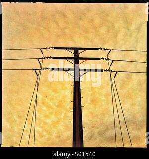 Electricity cables overhead - Stock Photo