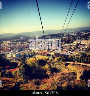 View from aerial lift, Guimaraes - Stock Photo