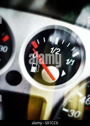 Empty fuel tank on dashboard - Stock Photo