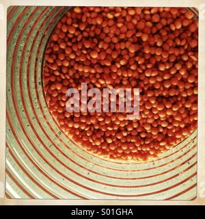 Red lentils in a jar - Stock Photo