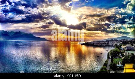 Sunset over Lake Geneva - Stock Photo