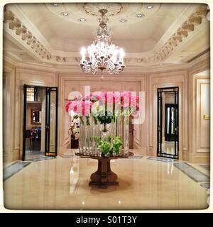 Beautiful hotel lobby of Four Seasons George V Paris - Stock Photo