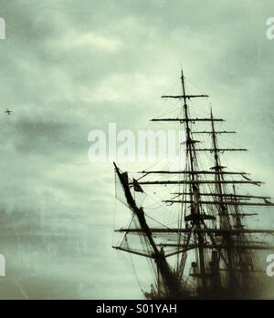 Tall ship and plane - Stock Photo