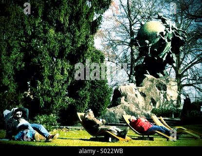UPU Monument, Berne (1909) with sun loungers - Stock Photo