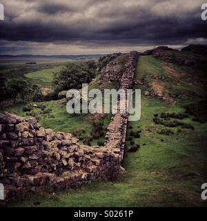 Hadrian's Wall - The Crags - Stock Photo