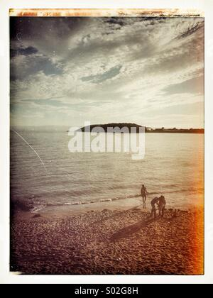 End of the day at Barry Island - Stock Photo