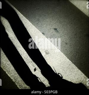 Pedestrian shadow over a zebra crossing - Stock Photo