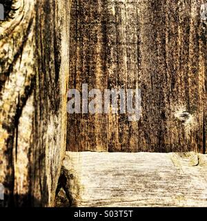 Close-up of grain in a wooden fence panel. - Stock Photo