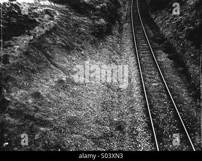 Rail tracks in black and white - Stock Photo