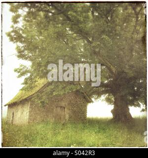 Small stone chapel at Le Mas Saint-Jean on a foggy morning, La Creuse, Limousin, France - Stock Photo