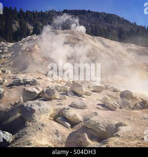 Steam vents, Bumpass Hell, thermal area, Lassen Volcanic National Park, California - Stock Photo