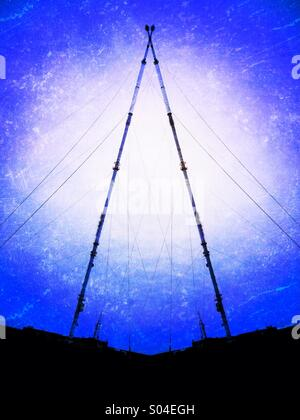 Winter Hill TV mast abstract - Stock Photo