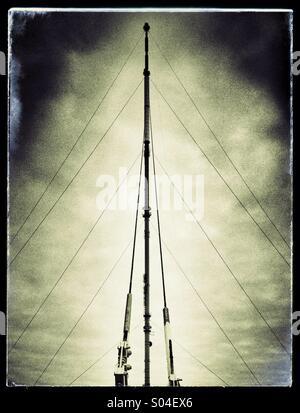 Winter Hill TV transmitter mast - Stock Photo