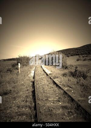 A scary railway, near Plovdiv, Bulgaria - Stock Photo