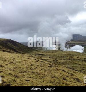 Geysir in Nesjavellir, Iceland - Stock Photo
