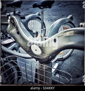 Handlebar of a bike for rental in Paris, France, Europe - Stock Photo