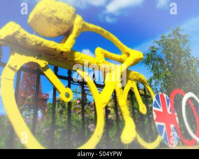 Yellow Bicycle made to celebrate the Yorkshire 1st Stage of the Tour de France by the Guiding and Scouting Association - Stock Photo