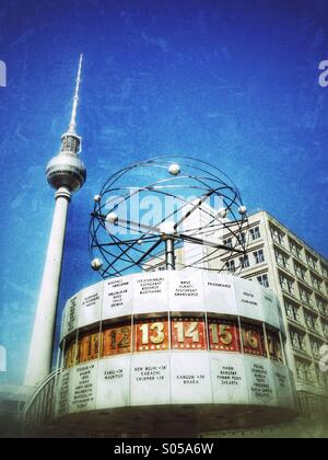 Alexanderplatz with world clock and television tower, Berlin Germany - Stock Photo