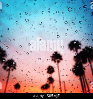 Tropical rainy sunset in southern Orange County. - Stock Photo