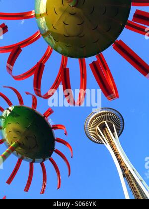 Space Needle, 'Sonic Boom' sculpture, Seattle Center, Seattle, Washington - Stock Photo