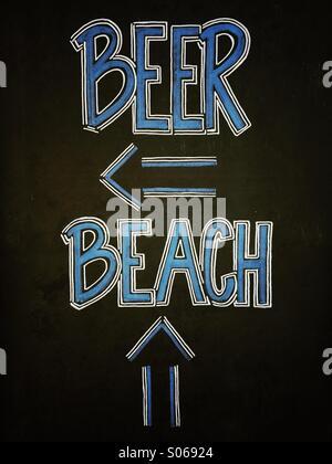 Chalk sign along sidewalk in Santa Barbara, California - Stock Photo