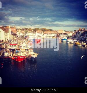 View Over Weymouth Harbour in Dorset - Stock Photo