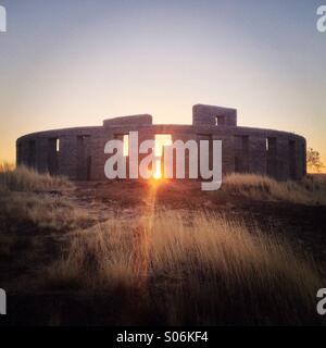 Sunrise at fake Stonehenge in Goldendale Washington - Stock Photo
