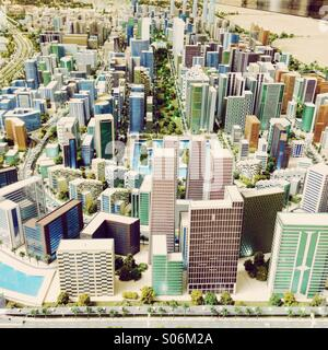 Model of proposed new city at Dubai World Central in United Arab Emirates - Stock Photo