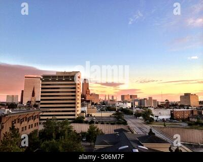 Dawn over downtown Tulsa, Oklahoma - Stock Photo