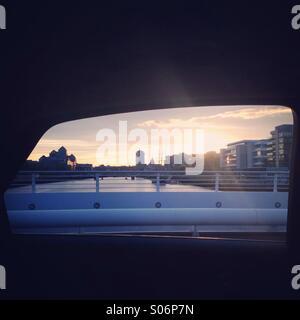 Car views over River Liffey, Dublin - Stock Photo