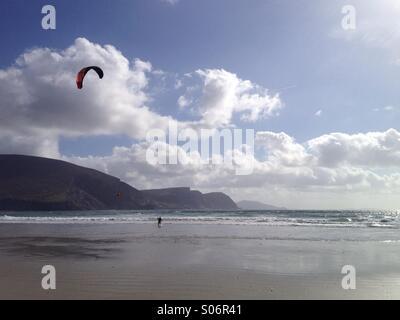 Kite surfers at Keel Beach, Achill Island, Mayo, Ireland, on the Wild Atlantic Way - Stock Photo
