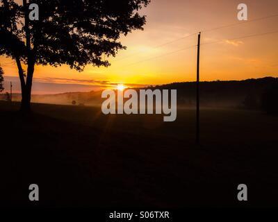 Golden autumn sunrise - Stock Photo