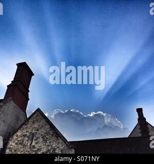 Amazing silver lining cloud on stormy day - Stock Photo