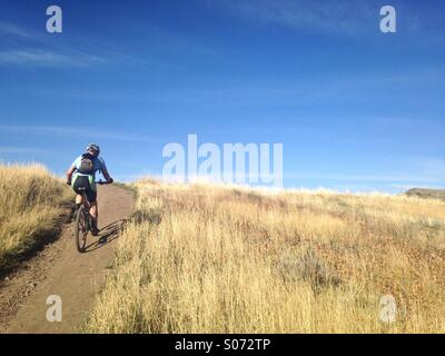 A mountain biker cruises along the Bonneville Trail in the Wasatch Mountains of Salt Lake City, Utah. - Stock Photo