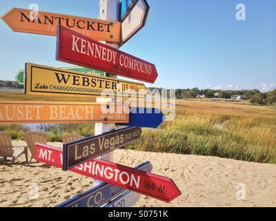 Directional signs on beach, Yarmounth, Cape Cod ,   Massachusetts - Stock Photo