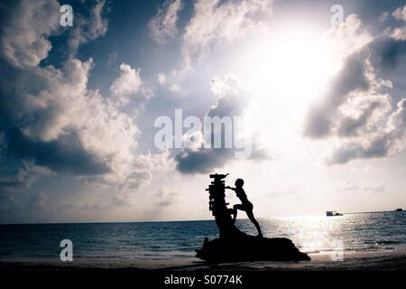 A woman standing on a large piece of driftwood on a Caribbean beach during sunrise - Stock Photo
