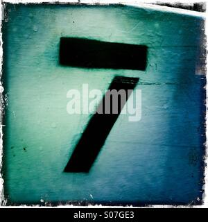 Number 7 on lock gate - Stock Photo