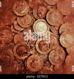 A stash of British £2 coins - Stock Photo