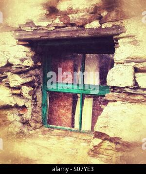 Old window in derelict house - Stock Photo