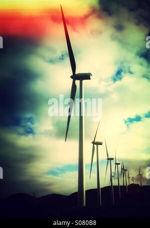 Windfarm near Ardales, Malaga Province, Andalusia, southern Spain. Windmills generating electricity.