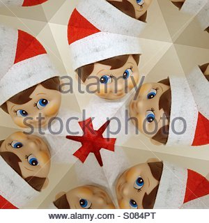 Christmas elf kaleidoscope - Stock Photo