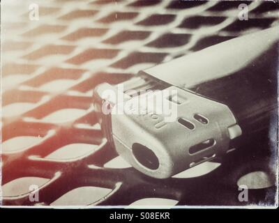 Top of disposable lighter on table - Stock Photo