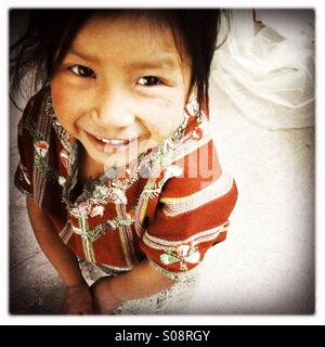 A maya indigenous girl in Tierra Linda, a Mayan village near lake Atitlan, Solola, Guatemala. - Stock Photo