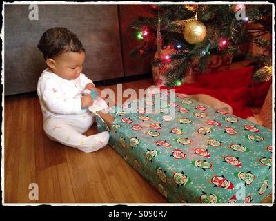 Baby's First Christmas - Stock Photo