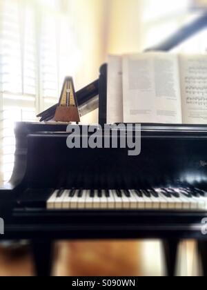 Piano with metronome - Stock Photo