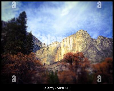 Dry Upper Yosemite Fall and Black Oak trees during fall. Yosemite Valley, Yosemite National Park, Mariposa County, - Stock Photo