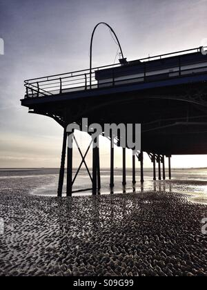 The end of a traditional seaside pier at Cleethorpes North East Lincolnshire England UK. Traditional seaside architecture - Stock Photo