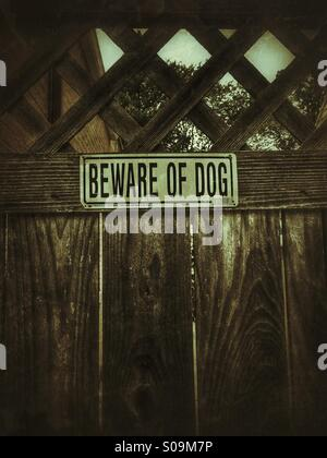 Black And White Metal Beware Of Dog Sign