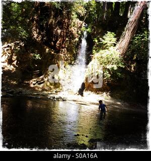A six year old boy plays at a waterfall on Bean Creek. Santa Cruz County, California, USA - Stock Photo