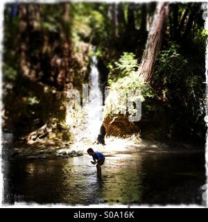 A six year old boy picks up rocks near a waterfall on Bean Creek. Santa Cruz County, California, USA - Stock Photo